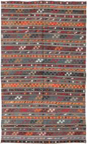 Kelim Turkisk Matta 180X303 Äkta Orientalisk Handvävd Mörkröd/Mörkgrå (Ull, Turkiet)