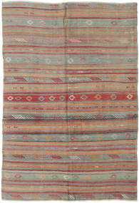 Kelim Turkisk Matta 160X233 Äkta Orientalisk Handvävd Mörkgrå/Mörkröd (Ull, Turkiet)