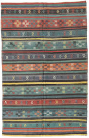 Kelim Turkisk Matta 150X236 Äkta Orientalisk Handvävd Mörkgrå/Ljusgrå (Ull, Turkiet)