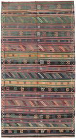 Kelim Turkisk Matta 155X286 Äkta Orientalisk Handvävd Mörkgrå/Brun (Ull, Turkiet)