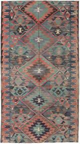 Kelim Turkisk Matta 163X292 Äkta Orientalisk Handvävd Mörkgrå/Ljusbrun (Ull, Turkiet)