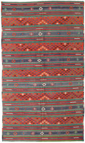 Kelim Turkisk Matta 170X296 Äkta Orientalisk Handvävd Mörkröd/Mörkgrön (Ull, Turkiet)
