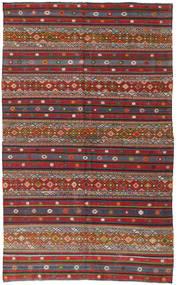 Kelim Turkisk Matta 168X280 Äkta Orientalisk Handvävd Mörkröd/Mörkgrå (Ull, Turkiet)
