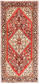 Hamadan Matta 150X326 Äkta Orientalisk Handknuten Hallmatta Mörkröd/Mörkbeige (Ull, Persien/Iran)