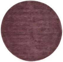 Handloom - Vinröd Matta Ø 150 Modern Rund Mörklila/Mörkbrun (Ull, Indien)