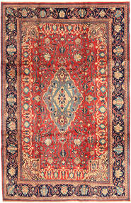 Sarough Matta 218X336 Äkta Orientalisk Handknuten Mörkröd/Mörkgrå (Ull, Persien/Iran)