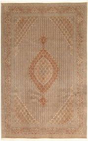 Tabriz 40 Raj Matta 203X314 Äkta Orientalisk Handknuten Brun/Ljusbrun (Ull/Silke, Persien/Iran)