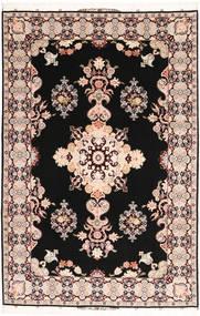Tabriz#60 Raj Silkesvarp Matta 202X305 Äkta Orientalisk Handknuten Svart/Mörkbrun (Ull/Silke, Persien/Iran)