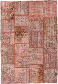 Patchwork Matta 159X234 Äkta Modern Handknuten Mörkröd/Ljusrosa (Ull, Turkiet)