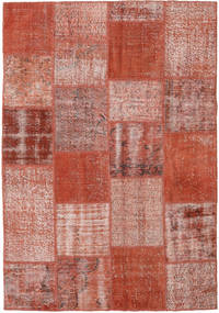 Patchwork Matta 154X223 Äkta Modern Handknuten Mörkröd/Röd (Ull, Turkiet)