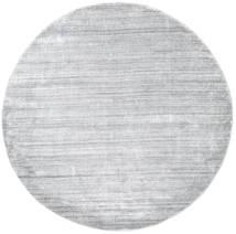 Bambu Silke Loom - Grå Matta Ø 200 Modern Rund Ljusgrå/Vit/Cremefärgad ( Indien)