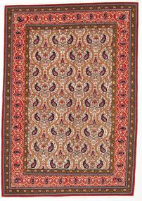 Ghom Kork/Silke Matta 142X205 Äkta Orientalisk Handknuten Mörkbrun/Röd (Ull/Silke, Persien/Iran)