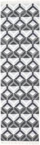 Aino Matta 80X300 Äkta Modern Handvävd Hallmatta Vit/Cremefärgad/Ljusblå/Lila (Ull/Bambusilke, Indien)