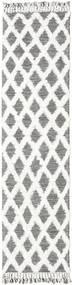 Inez - Mörkbrun/Vit Matta 80X300 Äkta Modern Handvävd Hallmatta Ljusgrå/Vit/Cremefärgad (Ull, Indien)