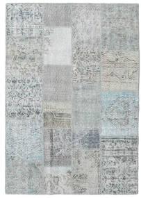 Patchwork Matta 140X201 Äkta Modern Handknuten Ljusgrå/Ljusblå (Ull, Turkiet)