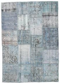 Patchwork Matta 136X195 Äkta Modern Handknuten Ljusgrå/Ljusblå (Ull, Turkiet)