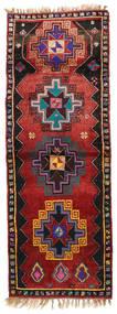 Herki Vintage Matta 135X373 Äkta Orientalisk Handknuten Hallmatta Mörkröd/Svart (Ull, Turkiet)