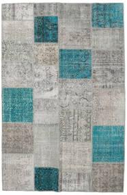 Patchwork Matta 196X301 Äkta Modern Handknuten Ljusgrå/Turkosblå (Ull, Turkiet)