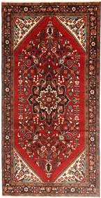 Hamadan Matta 160X323 Äkta Orientalisk Handknuten Hallmatta Mörkröd/Roströd (Ull, Persien/Iran)
