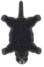 Leopard - Svart Matta 100X160 Modern Mörkgrå (Ull, Indien)