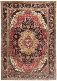 Tabriz Patina Matta 210X297 Äkta Orientalisk Handknuten Mörkröd/Mörkbrun/Brun (Ull, Persien/Iran)
