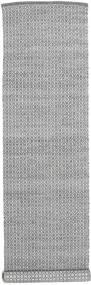 Alva - Mörkgrå/Vit Matta 80X350 Äkta Modern Handvävd Hallmatta Ljusgrå/Mörkgrå (Ull, Indien)