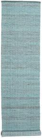 Alva - Turkos/Vit Matta 80X350 Äkta Modern Handvävd Hallmatta Ljusblå/Mörk Turkos (Ull, Indien)