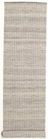 Alva - Brun/Vit Matta 80X350 Äkta Modern Handvävd Hallmatta Ljusgrå/Beige (Ull, Indien)