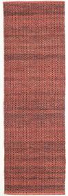 Alva - Dark_Rust/Svart Matta 80X250 Äkta Modern Handvävd Hallmatta Mörkröd/Mörkbrun (Ull, Indien)