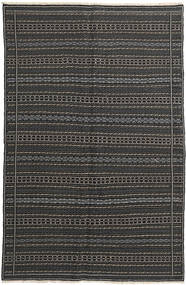 Kelim Matta 152X235 Äkta Orientalisk Handvävd Mörkgrå/Svart (Ull, Persien/Iran)