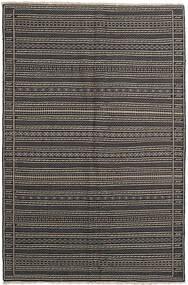 Kelim Matta 155X236 Äkta Orientalisk Handvävd Mörkgrå/Svart/Ljusgrå (Ull, Persien/Iran)