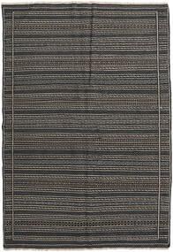 Kelim Persisk Matta 160X230 Äkta Orientalisk Handvävd Mörkgrå/Svart (Ull, Persien/Iran)