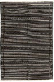 Kelim Matta 155X230 Äkta Orientalisk Handvävd Svart/Mörkgrå (Ull, Persien/Iran)