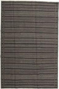 Kelim Matta 197X298 Äkta Orientalisk Handvävd Mörkgrå/Ljusgrå (Ull, Persien/Iran)