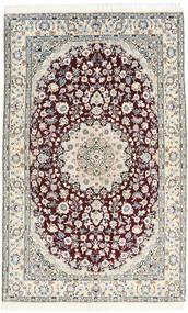 Nain 9La Matta 130X205 Äkta Orientalisk Handknuten Ljusgrå/Mörkbrun/Vit/Cremefärgad (Ull/Silke, Persien/Iran)