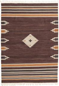 Tribal - Brun Matta 140X200 Äkta Modern Handvävd Mörkbrun/Mörkröd (Ull, Indien)