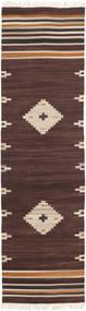 Tribal - Brun Matta 80X300 Äkta Modern Handvävd Hallmatta Mörkbrun (Ull, Indien)