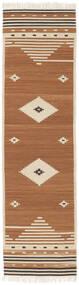 Tribal - Senap Matta 80X300 Äkta Modern Handvävd Hallmatta Brun/Ljusbrun/Beige (Ull, Indien)