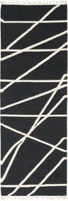 Cross Lines - Svart/Naturvit Matta 80X350 Äkta Modern Handvävd Hallmatta Mörkgrå/Beige (Ull, Indien)
