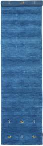 Gabbeh Loom Two Lines - Blå Matta 80X450 Modern Hallmatta Blå/Mörkblå (Ull, Indien)