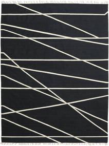 Cross Lines - Svart/Naturvit Matta 200X300 Äkta Modern Handvävd Svart (Ull, Indien)