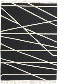 Cross Lines - Svart/Naturvit Matta 160X230 Äkta Modern Handvävd Mörkgrå/Beige (Ull, Indien)