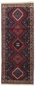 Yalameh Matta 80X198 Äkta Orientalisk Handknuten Hallmatta Svart/Mörkröd (Ull, Persien/Iran)