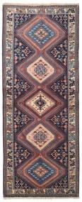 Yalameh Matta 78X199 Äkta Orientalisk Handknuten Hallmatta Mörklila/Mörkröd (Ull, Persien/Iran)