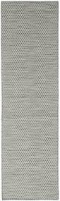 Kelim Honey Comb - Grå Matta 80X440 Äkta Modern Handvävd Hallmatta Mörkgrå/Ljusgrå (Ull, Indien)