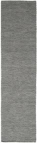 Kelim Honey Comb - Svart/Grå Matta 80X440 Äkta Modern Handvävd Hallmatta Mörkgrå/Ljusgrå (Ull, Indien)