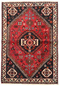 Shiraz Matta 106X154 Äkta Orientalisk Handknuten Svart/Mörkröd (Ull, Persien/Iran)