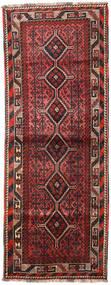Shiraz Matta 104X278 Äkta Orientalisk Handknuten Hallmatta Mörkbrun/Mörkröd (Ull, Persien/Iran)