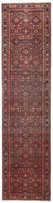 Hosseinabad Patina Matta 79X317 Äkta Orientalisk Handknuten Hallmatta Mörkröd/Mörkbrun (Ull, Persien/Iran)