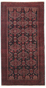 Beluch Patina Matta 95X177 Äkta Orientalisk Handknuten Mörkröd/Svart/Mörkbrun (Ull, Persien/Iran)